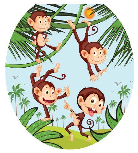 Toilet Tattoos, Toilet Seat Cover Decal,Monkey Business, Size Round by Toilet Tattoos