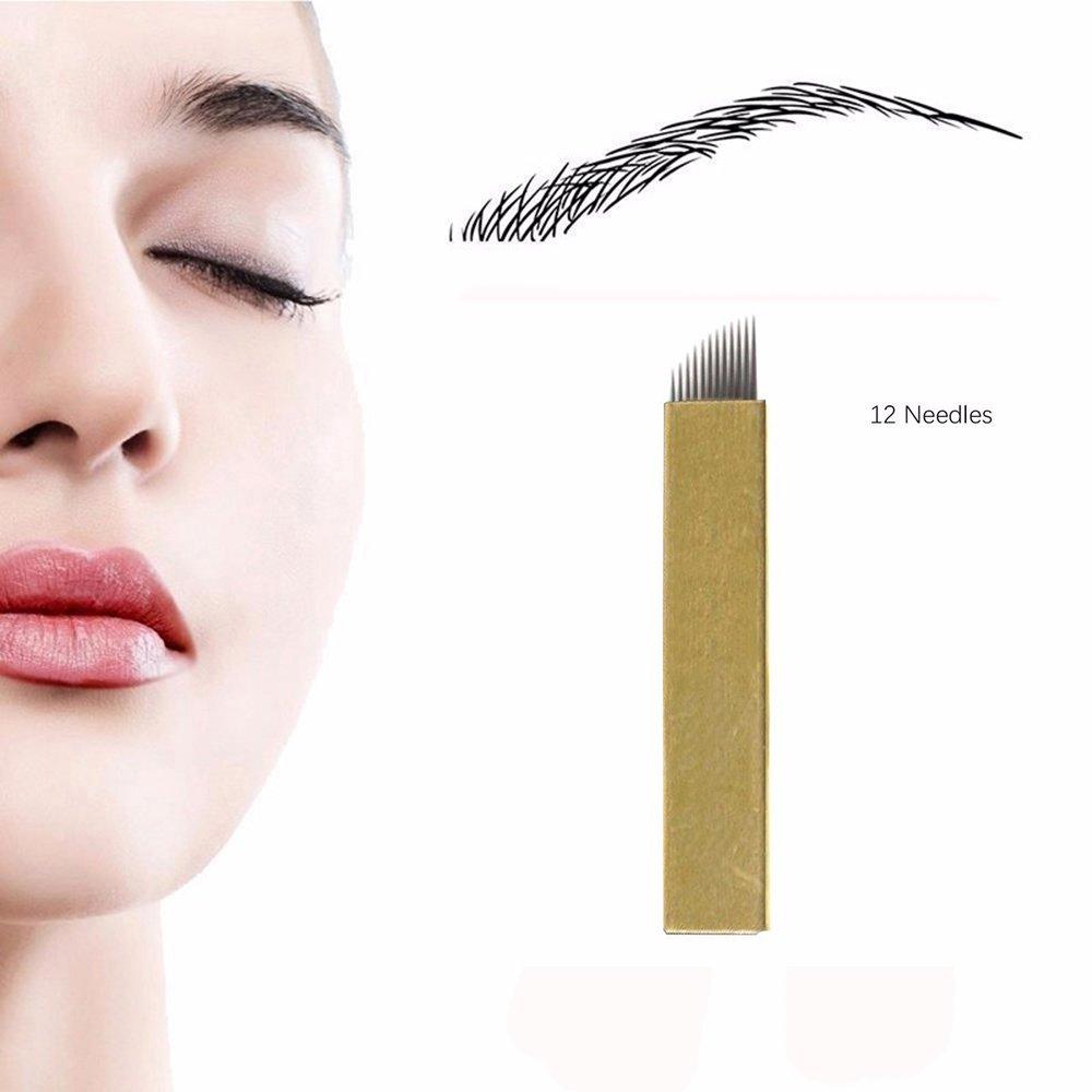 Disposable Microblading Needles - CINRA Microblading Tattoo Needles Permanent Makeup Manual Eyebrow Sloped (12 Needles 100pcs)