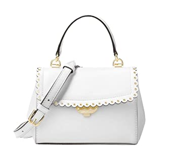 4a94c31d5751 Amazon.com: Michael Kors Ava Extra-Small Scalloped Leather Crossbody in  Optic White: Clothing
