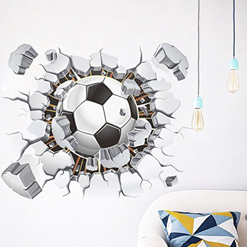 Broken 3D Soccer Ball Football Decorative Peel Vinyl Wall Stickers Wall Decals, DIY Removable Stick Baby Boys Girls Kids Room Nursery Wall Mural Decor -