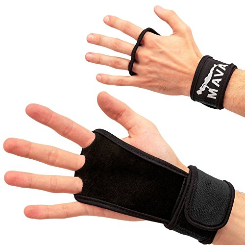 Mava Sports Leather Gloves with Velcro Wrist Support for Kettlebell, Barbell, Cross Training, Black M
