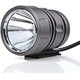 Bright Rechargeable LED Bike Light Headlight Perfect bike headlight-taillight Combination (Round Grey)