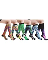 6 Pairs Women's Graduated Compression Printing Trouser Socks 8-15mmHg (621A)