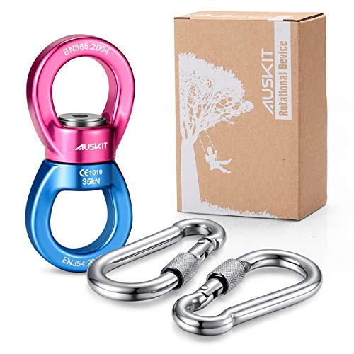 AusKit Swing Swivel, 35 KN Pulley, Safest Rotational Device Hanging Accessory with Carabiners for Web Tree Swing, Swing Setting, Aerial Dance, Children's Swing(Blue/Red) - Open Snap Chain Eye