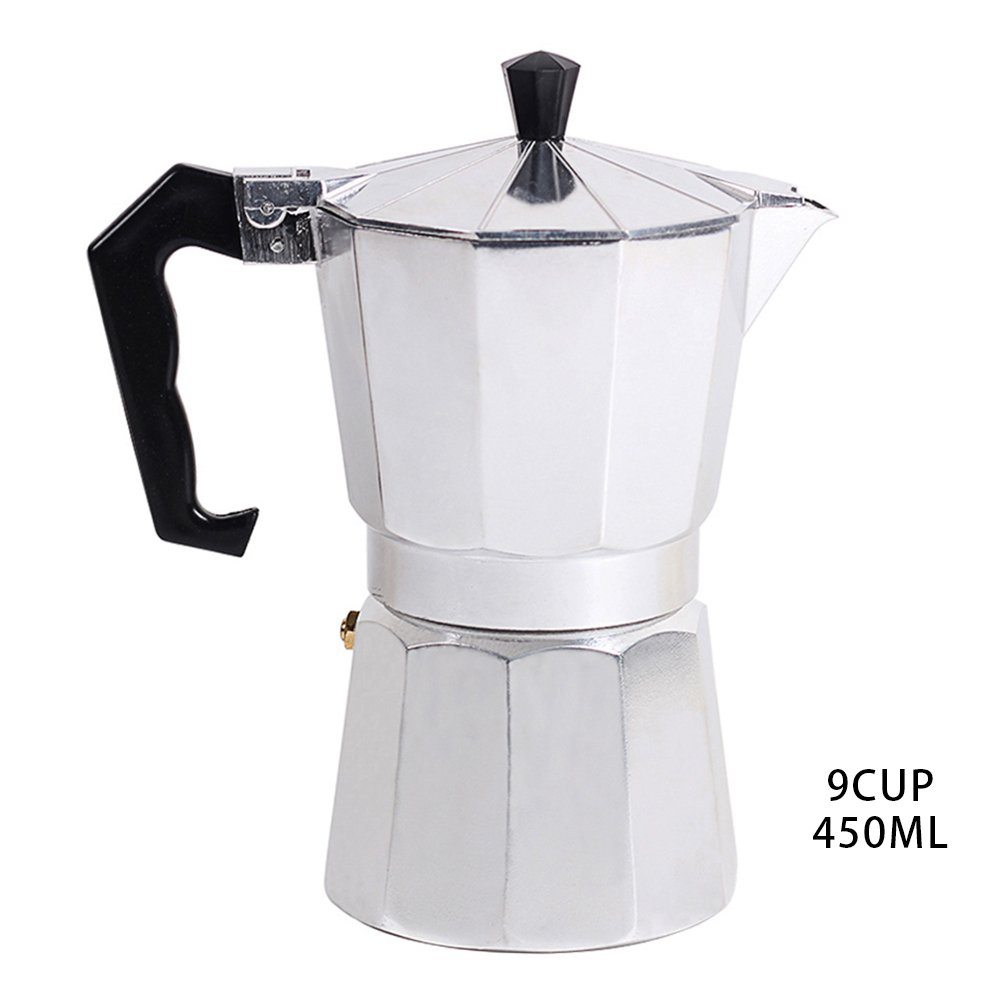 Stovetop Espresso Maker Coffee Filter for Gas and Electric Aluminum (9-Cup)
