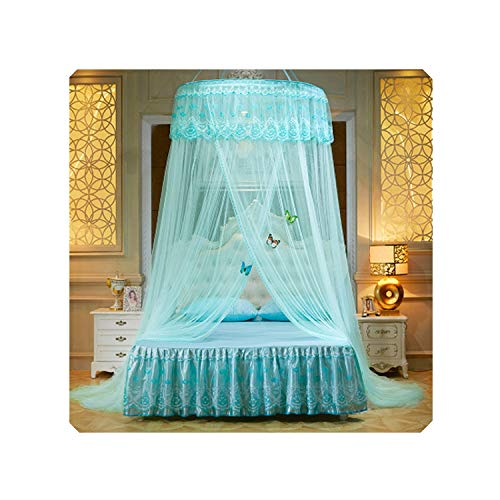 Folding Palace Mosquito Net Double Bed Hung Dome Mosquito Net Adults Anti Insert Bed Tent Kids Canopy Princess Bed Curtain Mesh,Green,1.35m (4.5 feet) Bed