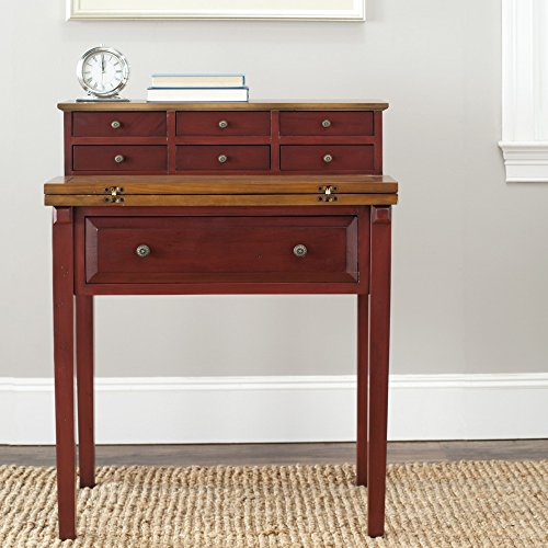 (Safavieh American Homes Collection Abigail Egyptain Red and Oak Fold Down Desk)