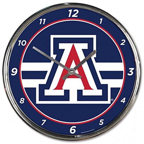 Arizona Wildcats Clock Plastic Chrome 12 Inch (Wildcats Metal Parking Sign)