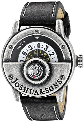 Joshua   Sons Mens Jx116ssb Round White Dial Quartz Watch With Compass