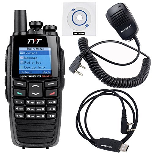 5 Pack NKTECH USB Programming Cable & Remote Speaker Mic and TYT DM-UVF10 With GPS 136-174/400-470MHz Dual Band DPMR Digital Transceiver Two Way Radio by NKTECH