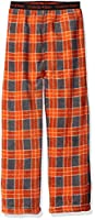 Calvin Klein Big Boys Printed Plush Plaid Sleep Pant, Orange, 10/12