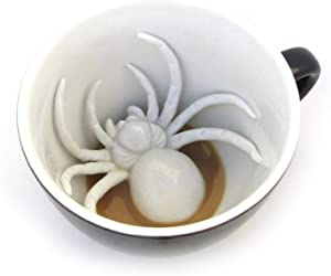 Creepy Cups Spider Ceramic Cup (11 Ounce, Midnight Black) | Hidden Animal Inside | Halloween, Holiday and Birthday Gift for Coffee & Tea Lovers