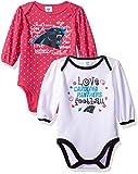 "Gerber Childrenswear ""Love Football"" Carolina Panthers 2Pk Long Sleeve Bodysuit, 3-6 Months, Pink and White, Carolina Panthers"