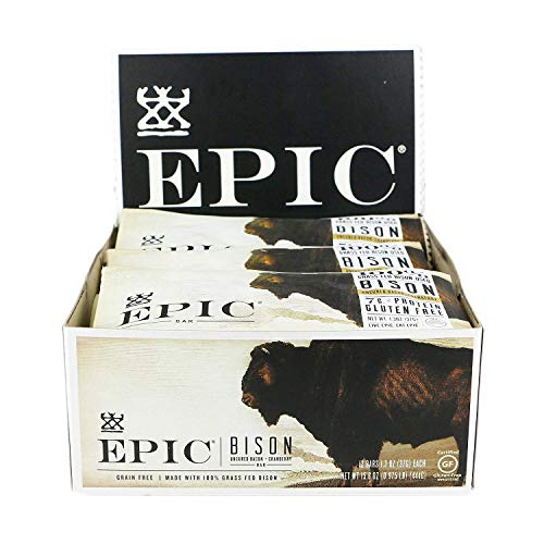 Epic All Natural Meat Bar, Bison, Uncured Bacon and Cranberry, 1.3 oz. (12 Count)