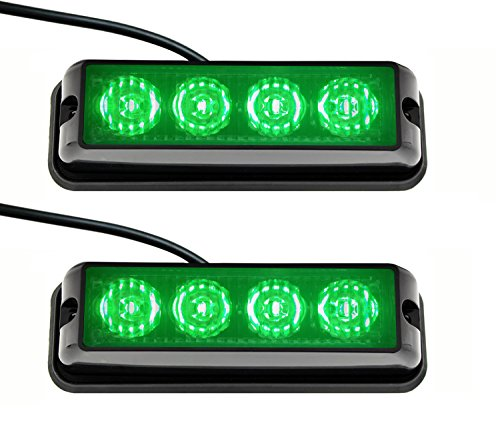 Strobelight Bar 4 LED with Super Bright Emergency Beacon Flash Caution Strobe Light Bar with 17 Different Flashing (2PCS) (Green) Super Strobe