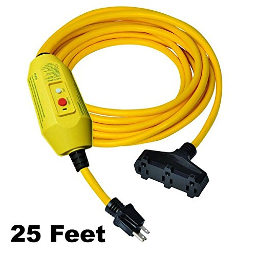 GFCI Power Extension Cord | 3 Outlets - 25 FT Cord