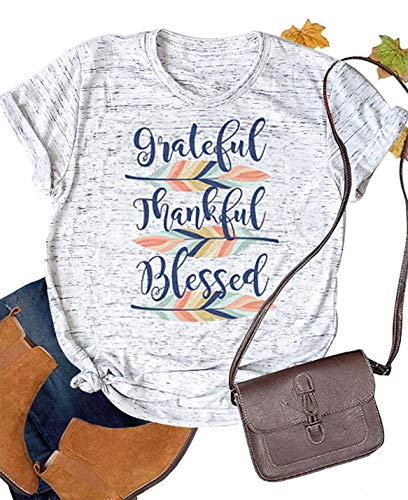 LUKYCILD Grateful Thankful Blessed Feather T-Shirt Women Thanksgiving Cute Graphic Print Shirt Size S (Gray)