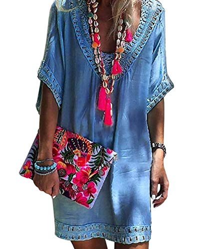 - EternatasticWomen's Swimsuit Cover up Hollow Out Crochet Tunic Bikini Beach Dresses L Blue