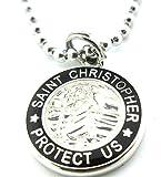 Get Back Supply Co Medium Saint Christopher Surf Medal Pendant Necklace White/Black WH/BK