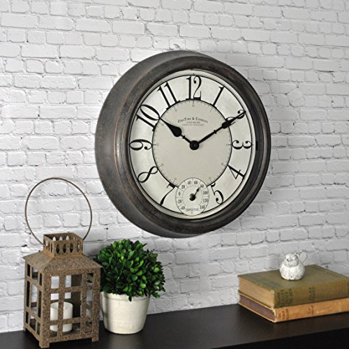 FirsTime & Co. 31040 FirsTime Isle Patina Outdoor Wall Clock, 14