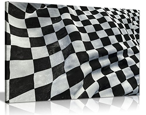 F1 Racing Chequered Flag Boys Bedroom Canvas Wall Art Picture Print (F1 Racing Flags)