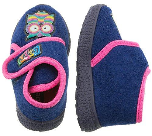 Beppi Süße Kinderschuhe mit Lustigem Eulenmotiv | Lila oder Pink | Warme Hausschuhe für Kinder | Niedliches Tiermotiv | Größe 20 bis 27 Lila
