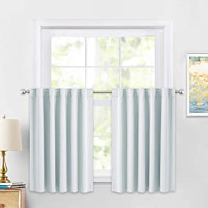 PONY DANCE 36 Inches Curtain Valances - Rod Pocket Window Covering Light Filtering and Privacy Protection Tiers for Home Decoration, 42 x 36 Inches, Greyish White, Set of 2