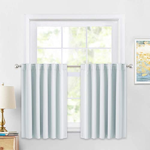 PONY DANCE 36 Inches Curtain Valances – Rod Pocket Window Covering Light Filtering and Privacy Protection Tiers for Home Decoration, 42 x 36 Inches, Greyish White, Set of 2