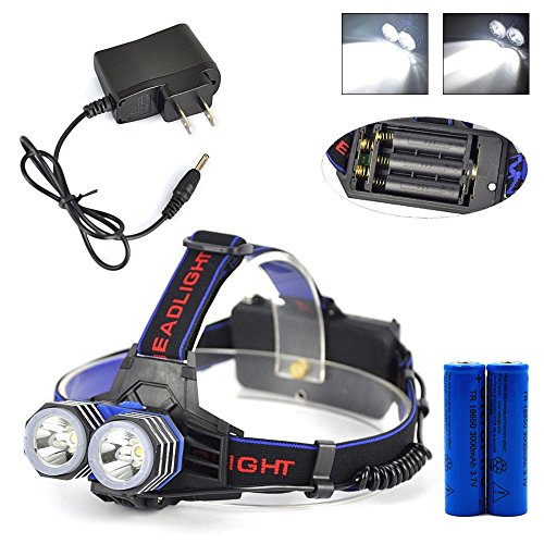 AnkongDouble lamps XML-T6 Headlamp lightweight Durable Waterproof Rechargeable Adjustable for Bike Camping Hiking Cycling hunting fishing 218650Batteries+AC Charger