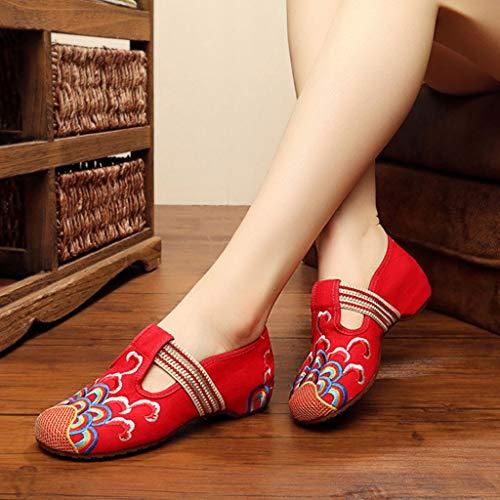 Libero Donna Eleganti Rossa Stoffa dimensioni XHX Scarpe Ricamate Scarpe Red In Tempo Piatte Colore Il Per 41 Red Ballerine Da Ricamate qwqnvpIt