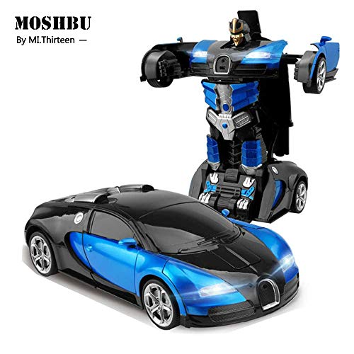 Moshbu Transform RC Car Robot, 360° Rotating Toys Transformers Robot One-Button Gesture Induction Deformation Function Car Toy with Bugatti Rambo Style for Kids Birthday Party Gift Racing Competition from Moshbu