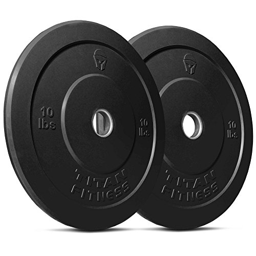 Titan Fitness Pair 10 lb Olympic Bumper Plate Black Benchpress Strength Training by Titan Fitness