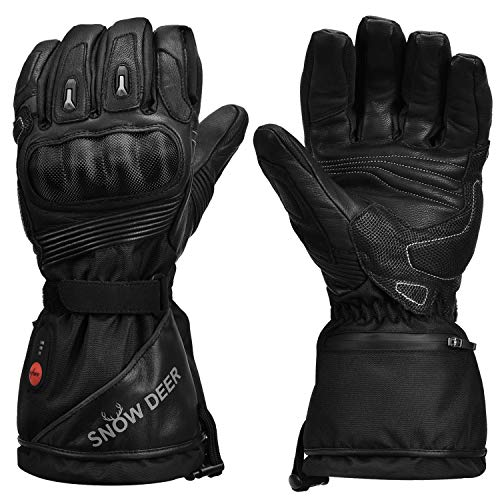Heated Motorcycle Gloves,7.4V 2200MAH Electric Rechargeable Battery Waterproof Riding Gloves Men Women for Winter Biking Cycling Hunting Fishing Ski Snow Insulated Gloves, Hand Warmer Arthritis