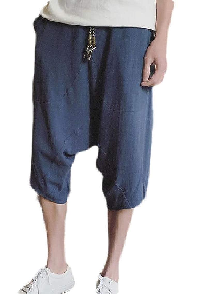 Men Summer Casual Lounge Baggy Linen Shorts Harem Capri Pants