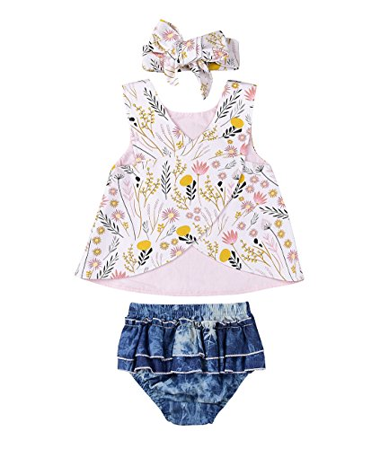 (Infant Baby Girl Outfit Wildflowers Cross Vest Ruffled Leaf Short Pants with Headband Clothing (tag: 100/18-24 Months,)
