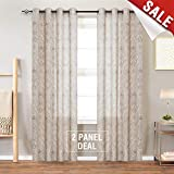 best colors for living room jinchan Medallion Linen Blend Curtains for Living Room 84 Inch Length Drapes Damask Pattern Flax Draperies Window Treatments for Sliding Glass Doors Bedroom Curtain Panels (1 Pair, Taupe)