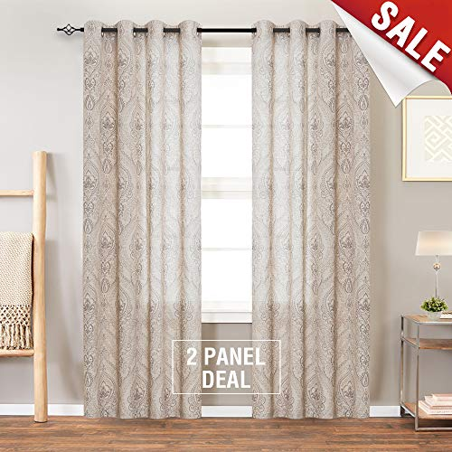 jinchan Medallion Linen Blend Curtains for Living Room 84 Inch Length Drapes Damask Pattern Flax Draperies Window Treatments for Sliding Glass Doors Bedroom Curtain Panels (1 Pair, Taupe)