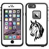 Skin Decal for LifeProof Apple iPhone 6 Case - Silhouette Horse Head on White