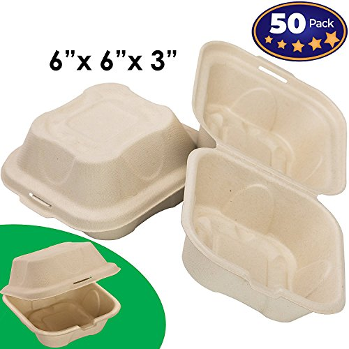 Biodegradable 6x6 Take Out Food Containers with Clamshell Hinged Lid 50 Pack. Microwaveable, Disposable Takeout Box to Carry Meals ToGo. Great for Restaurant Carryout or Party Take Home Boxes -