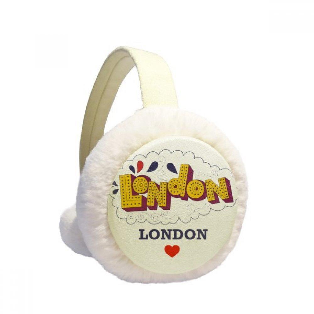 Love London Britain UK Lattice Winter Earmuffs Ear Warmers Faux Fur Foldable Plush Outdoor Gift