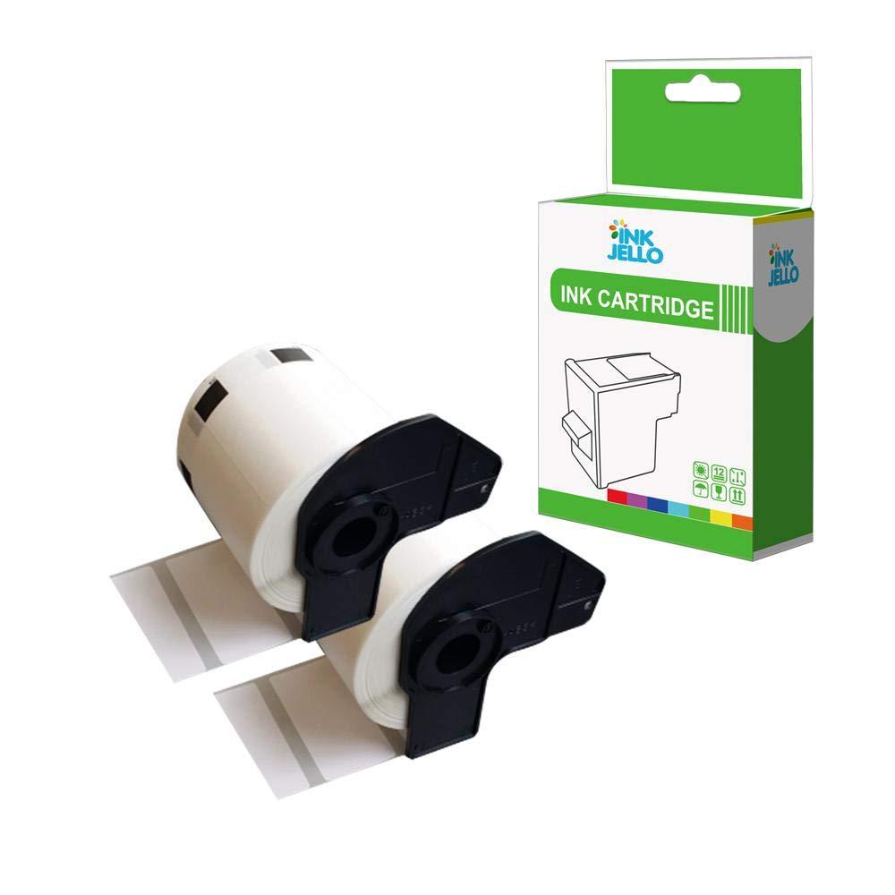 Nero su Bianco, 2-Pack InkJello Compatibile Rotoli Etichette Sostituisci per Brother QL-810W QL-820NWB QL-580N QL-800 QL-1050 QL-1050N QL-1060N QL-500 QL-550 QL-570 QL-700 QL-710W DK-11201