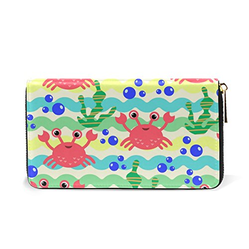 And Handbags Wallet And Marine Womens Clutch Algae Fish Cartoon TIZORAX Purses Zip Around Organizer 4AqSwZCq6