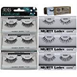 6 Pairs Combo Bundle of Ardell Professional DEMI WISPIES (3 pair) + Mighty Lashes by COTU (R) DW (1 pair), WSP (1 pair) & 217 (1 pair) - 100% Human Hair False Eyelashes
