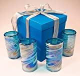 Mexican glasses, turquoise white swirl with gift box, hand blown from Mexico, 18 oz