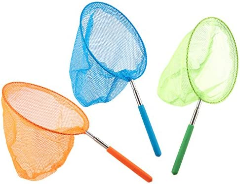 White Elcoho Telescopic Insects Net Catching Butterfly Nets Kids Bug Net Outdoor Tools Fishing Net with Storage Bag Extendable from 15.7 Inches to 35 Inches