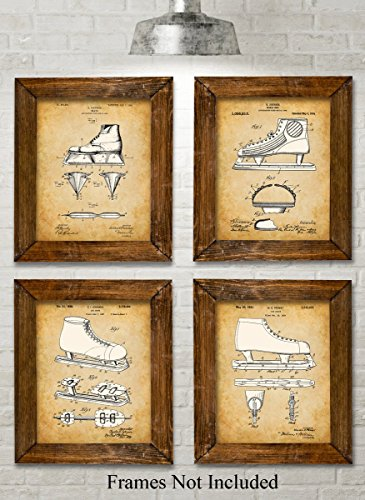 Original Ice Skating Patent Art Prints - Set of Four Photos (8x10) Unframed
