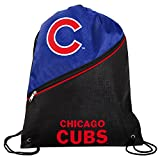 Chicago Cubs Official High End Diagonal Zipper Drawstring Backpack Gym Bag