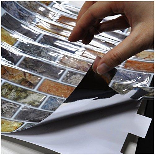 Art3d 10-Piece Peel & Stick Kitchen/Bathroom Backsplash Sticker, 12'' X 12'' Faux Ceramic Tile Design by Art3d (Image #6)