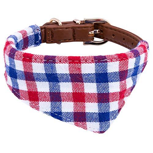 StrawberryEC Puppy Collars for Small Dogs Adjustable Puppy Id Buckle Collar Leather. Cute Plaid Bandana Dog Collar (Bandana-Blue-Grid)