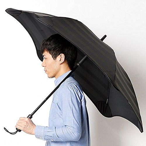 ブラント(BLUNT) 【空気力学による風に強い構造】メンズ長傘ボーダー柄(雨傘) B071JZTWJT 65|15ブラック 15ブラック 65